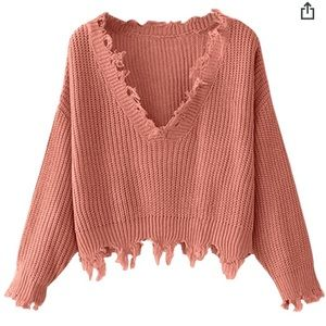 Zaful Pink distressed crop sweater